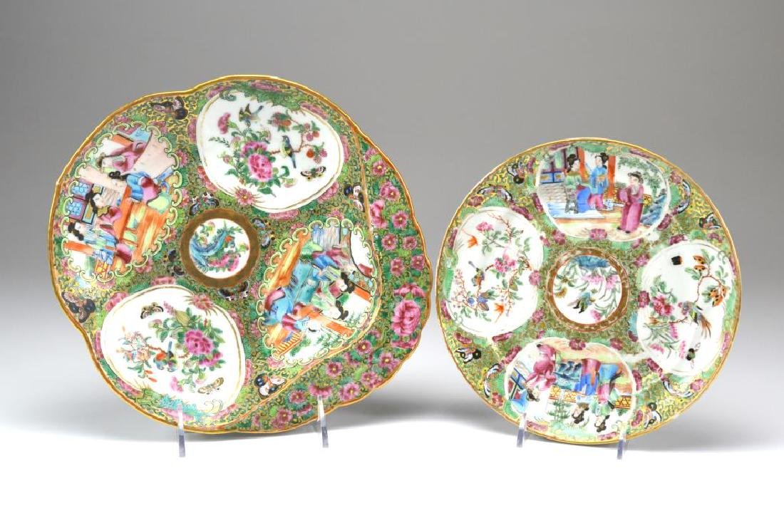Two Canton famille rose medallion porcelain dishes