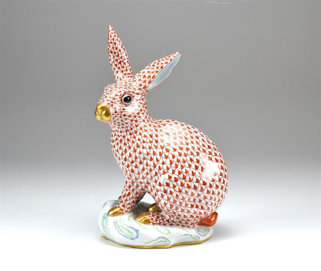 Herend porcelain fish scale pattern rabbit