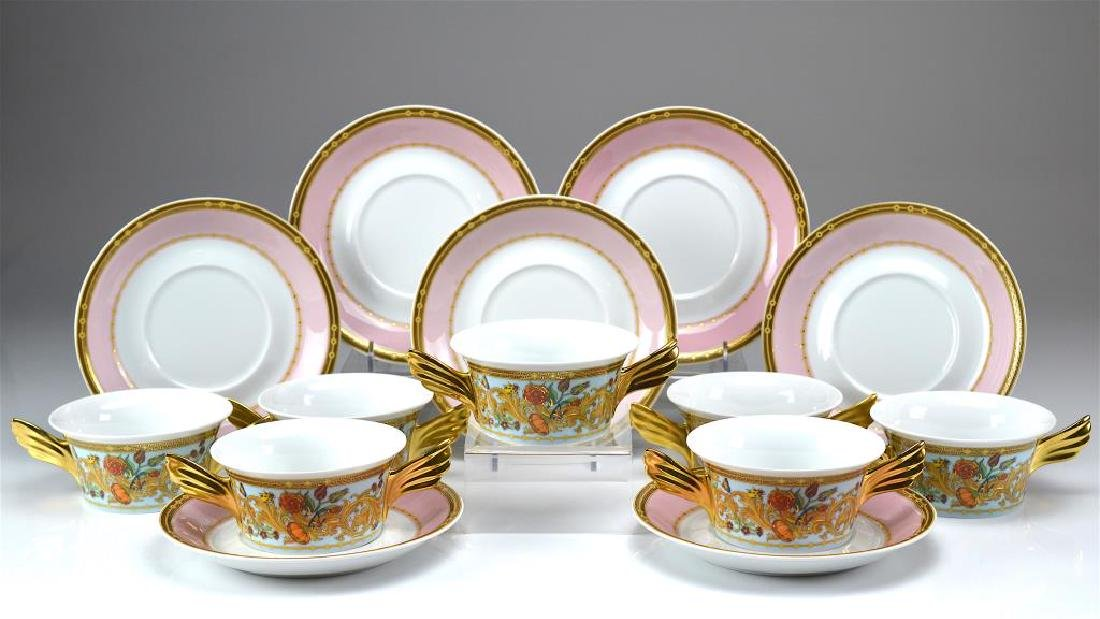 Rosenthal Versace seven soup bowls and saucers