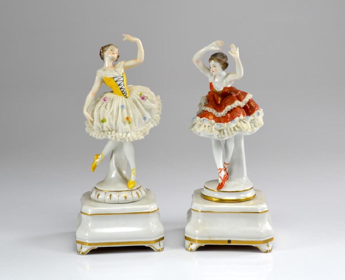 Two Dresden Volkstedt ballerina music boxes