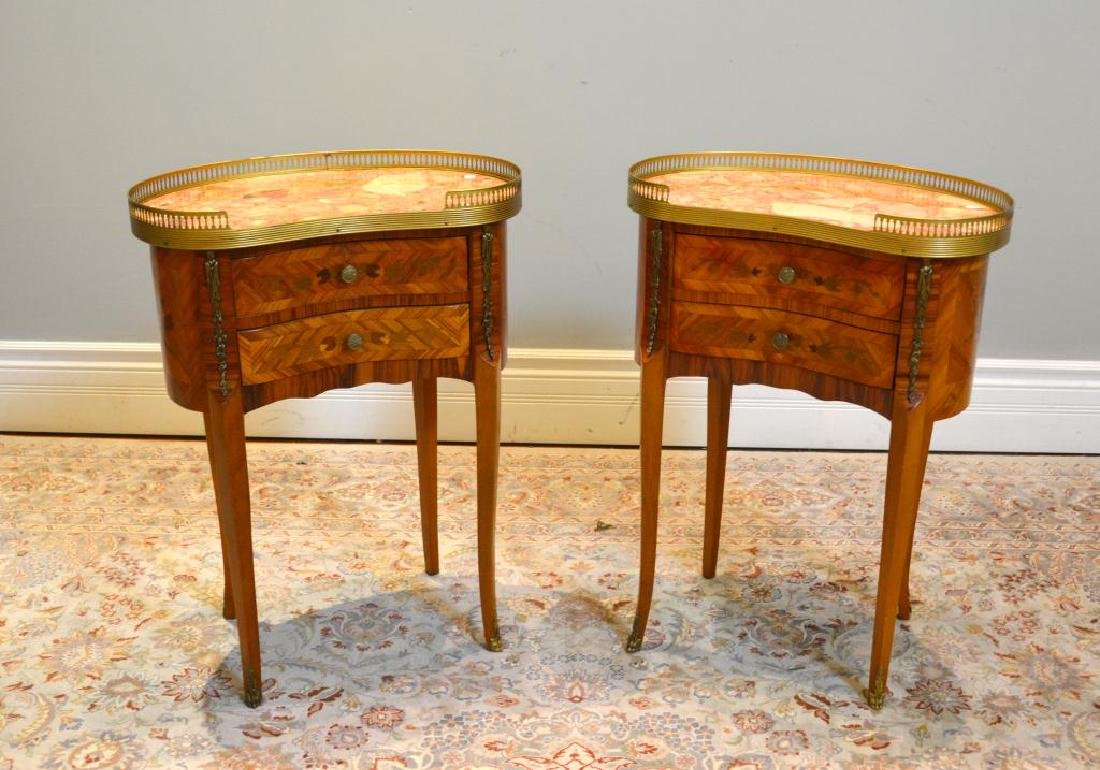 Pair of French mix wood marquetry side tables