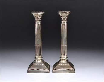 Pair of Edwardian English silver candlesticks