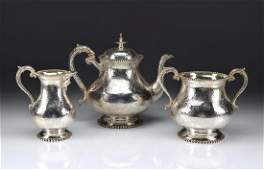 Three piece Victorian English silver tea set