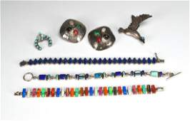 Group of silver lapisturquoise  opal jewellery