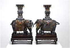 PAIR OF CHINESE SILVER ELEPHANTS WITH JEWELS