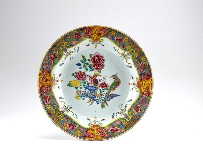 LARGE CHINESE EXPORT FAMILLE ROSE PORCELAIN BASIN