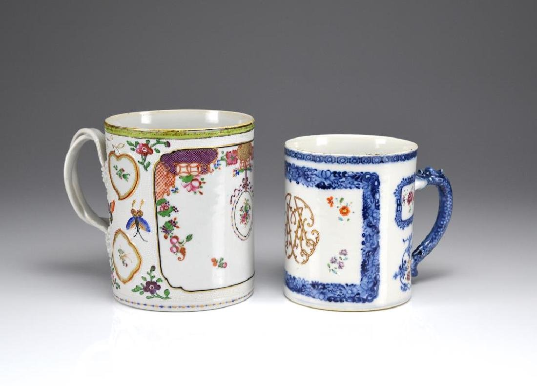 TWO CHINESE EXPORT FAMILLE ROSE PORCELAIN TANKARDS