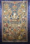 LARGE SILK EMBROIDERED BUDDHIST THANGKA TEXTILE