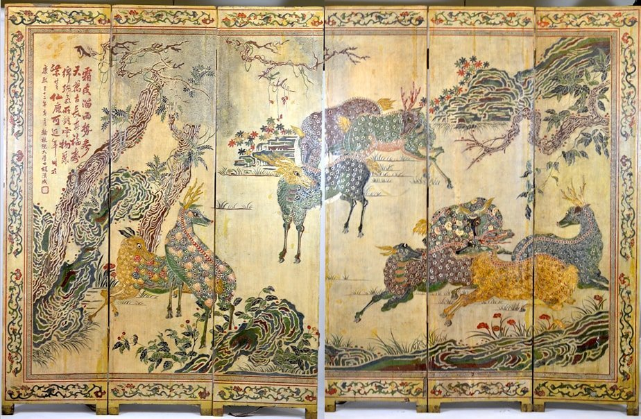 CHINESE LACQUER & CARVED COROMANDEL WOOD SCREEN