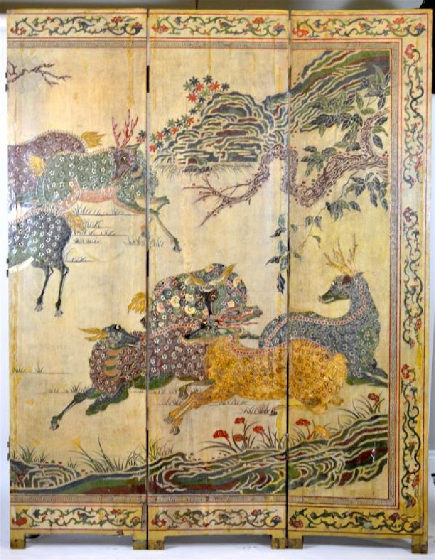 CHINESE LACQUER & CARVED COROMANDEL WOOD SCREEN - 2