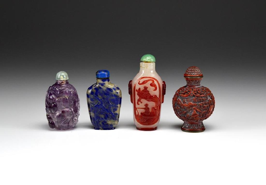 GROUP OF FOUR CHINESE MIXED MATERIAL SNUFF BOTTLES