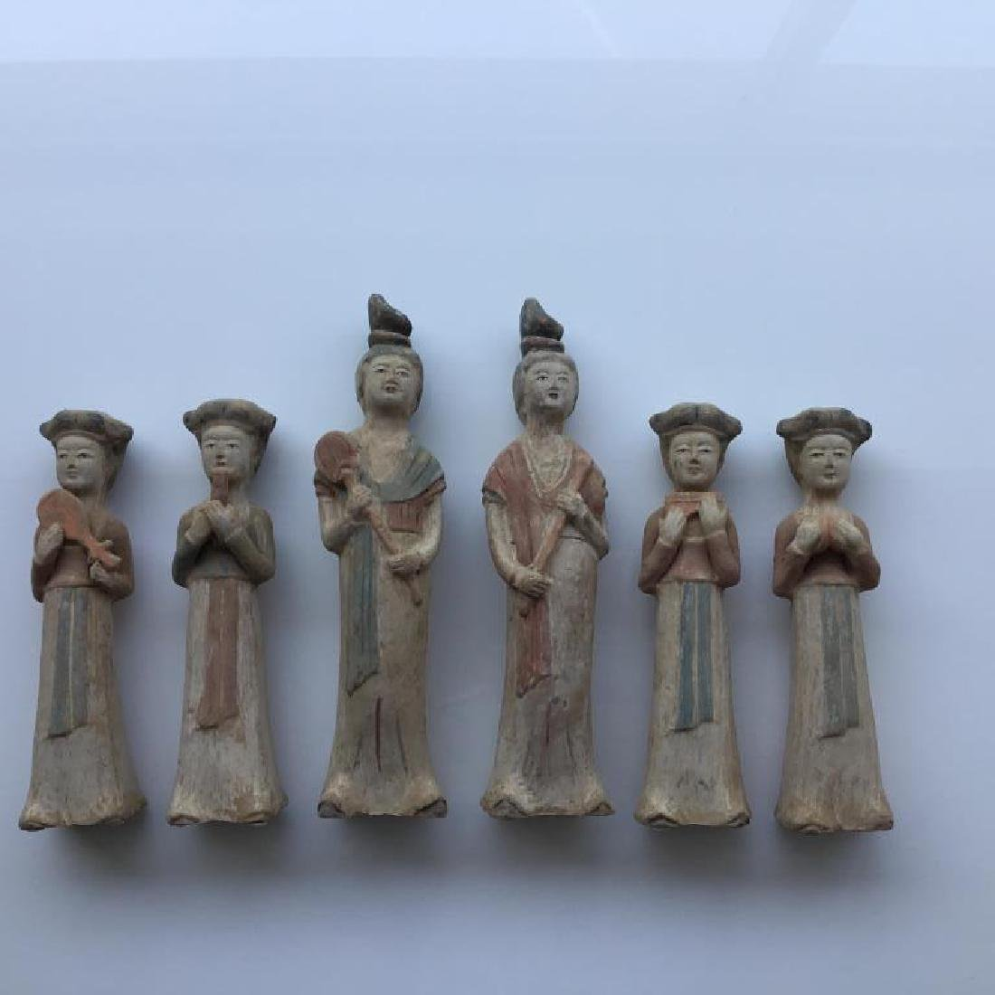 GROUP OF SIX POTTERY FIGURES - 5