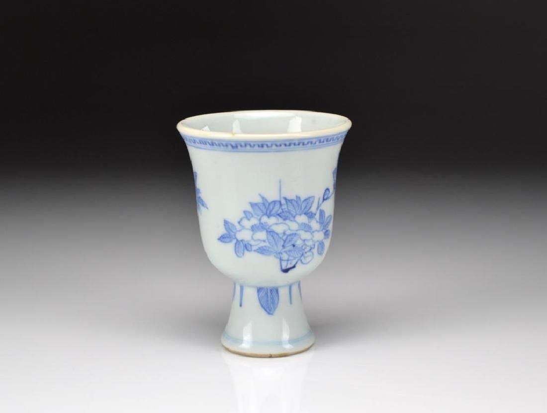 CHINESE KANGXI BLUE & WHITE PORCELAIN STEM CUP - 2