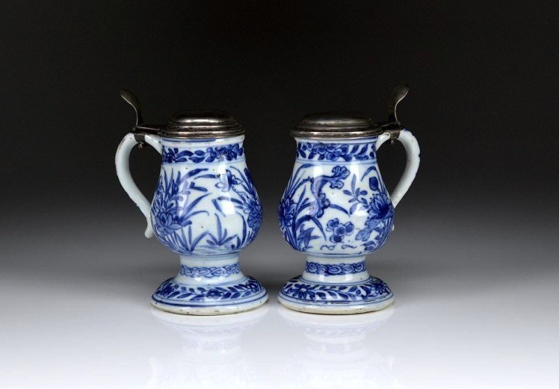 TWO SILVER CAP EXPORT BLUE & WHITE PORCELAIN MUGS