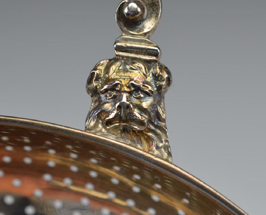 A LARGE GEORGE II SILVER PUNCH STRAINER - 6