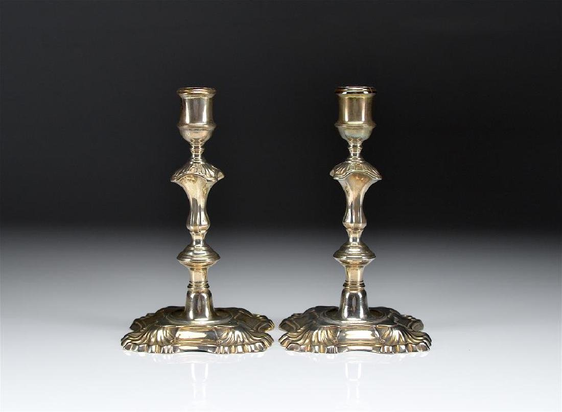PAIR OF GEORGE II ENGLISH SILVER CANDLESTICKS