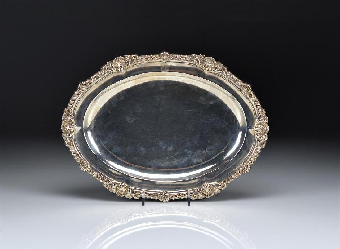 GEORGE III SILVER OVAL GAME PLATTER