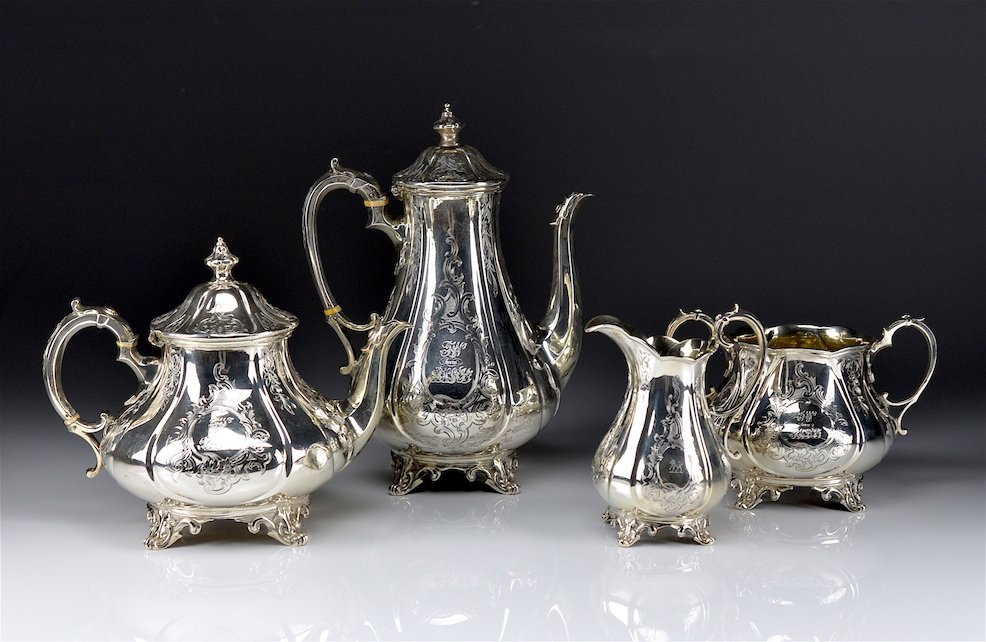 VICTORIAN FOUR PIECE SILVER TEA AND COFFEE SET
