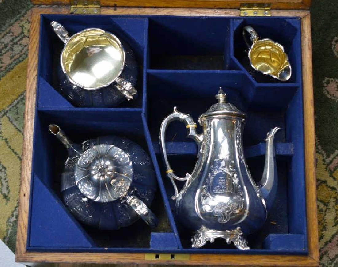 VICTORIAN FOUR PIECE SILVER TEA AND COFFEE SET - 2