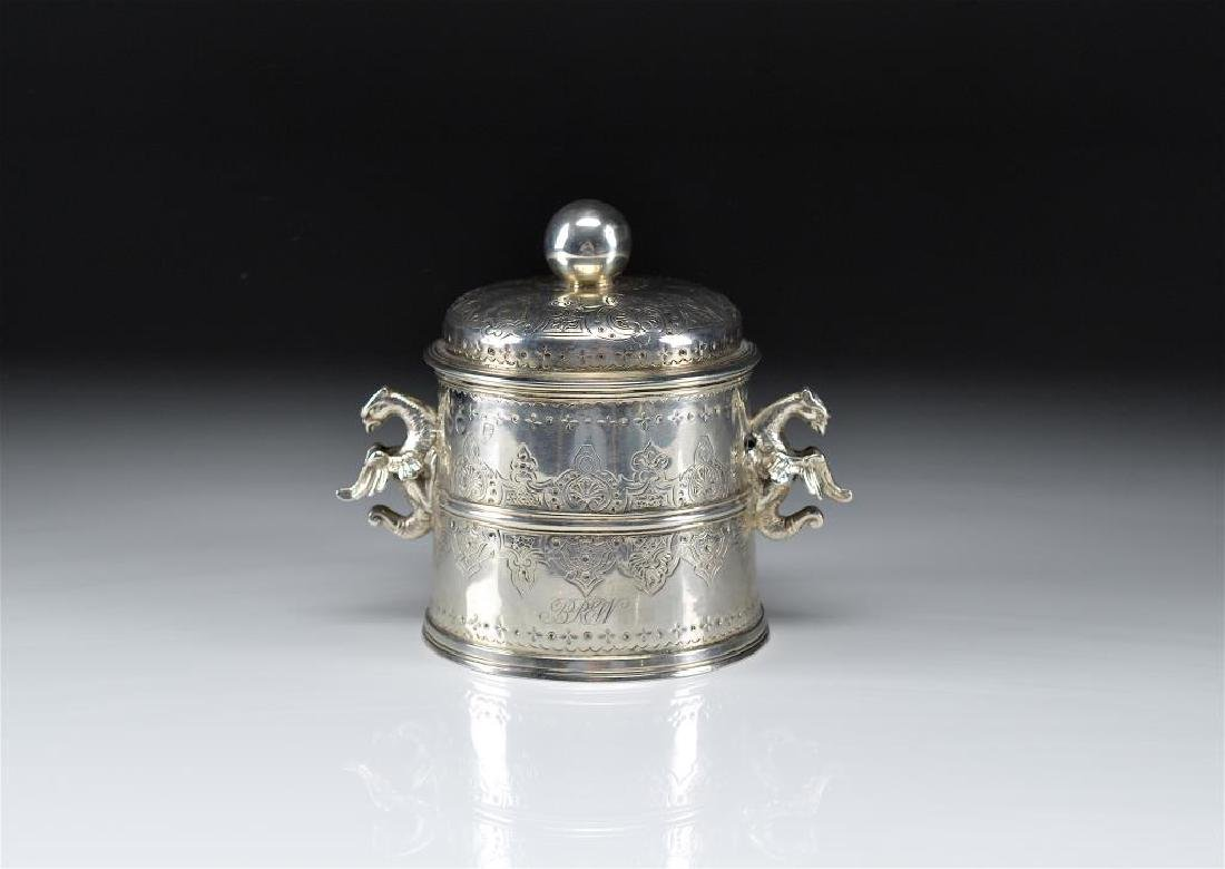 UNUSUAL ENGLISH SILVER COVERED CONTAINER