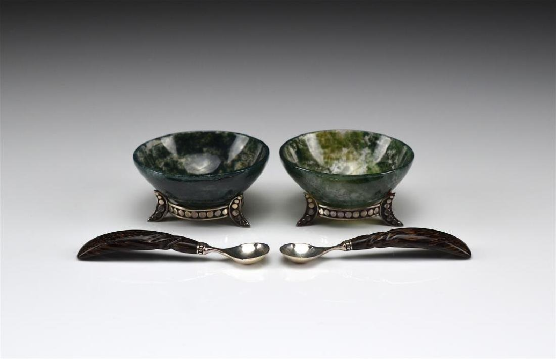 PAIR OF CONTEMPORARY SILVER & AGATE SALTS