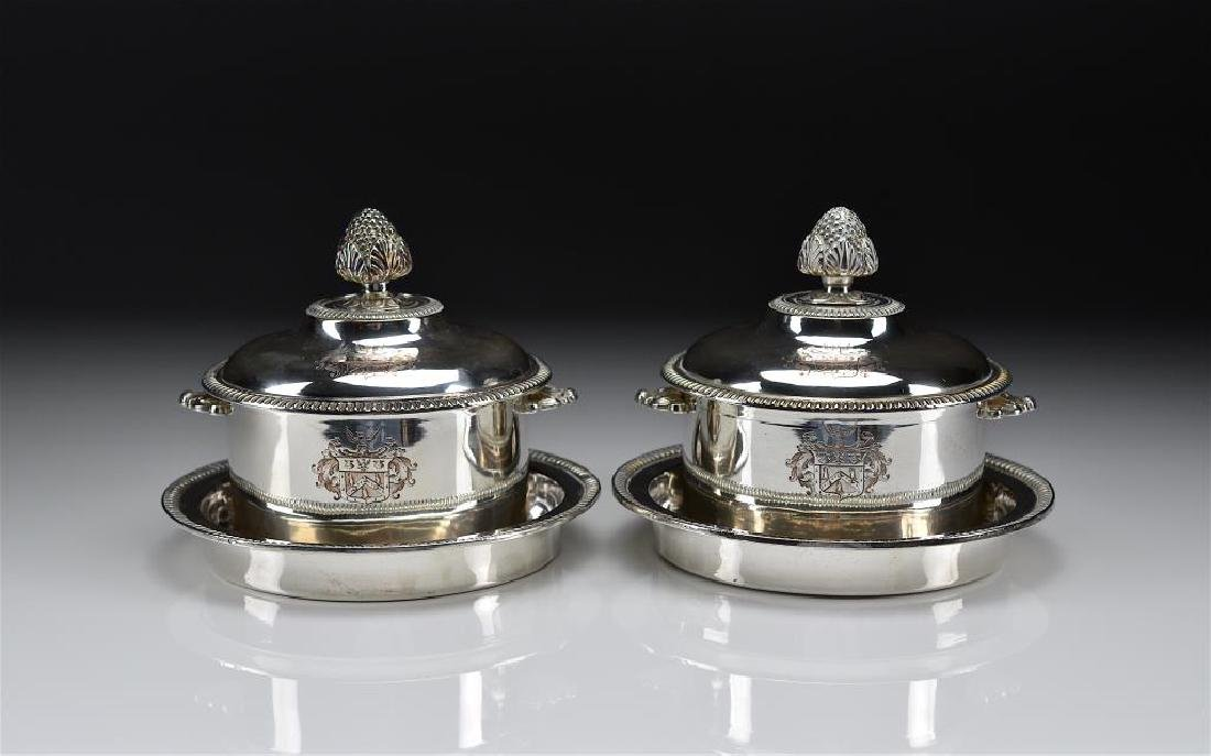 PAIR OF SHEFFIELD PLATE SMALL COVERED TUREENS