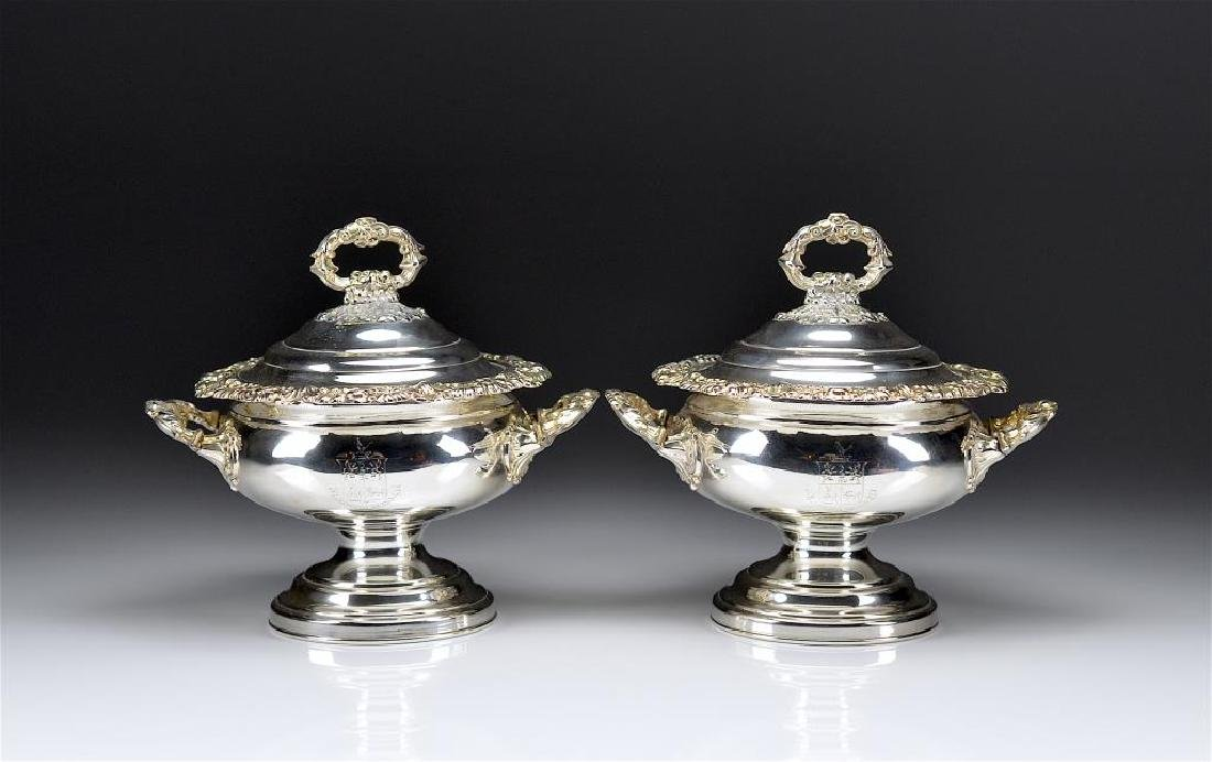 PAIR OF SHEFFIELD PLATE SAUCE TUREENS