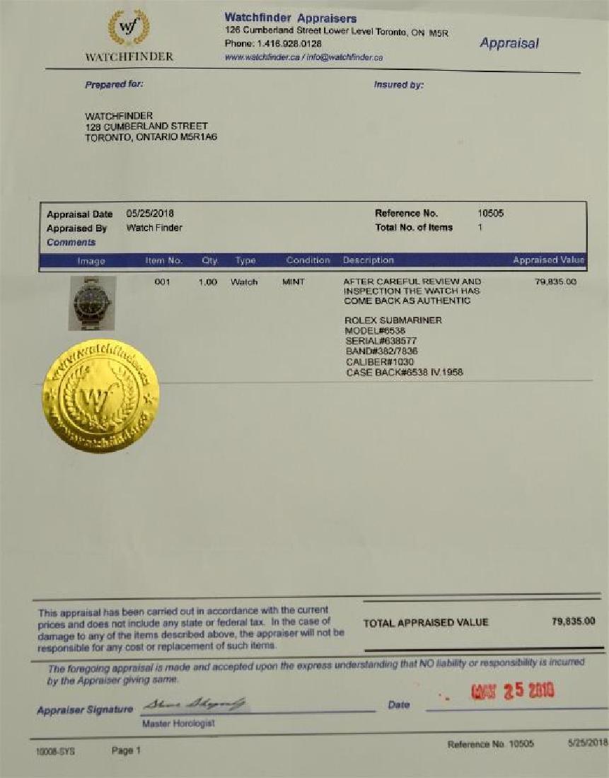 VINTAGE ROLEX SUBMARINER WRISTWATCH, 6538 - 9
