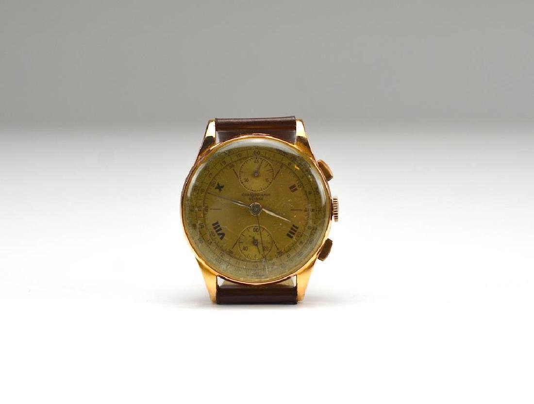 VINTAGE SWISS CHRONOGRAPHE GOLD WRISTWATCH