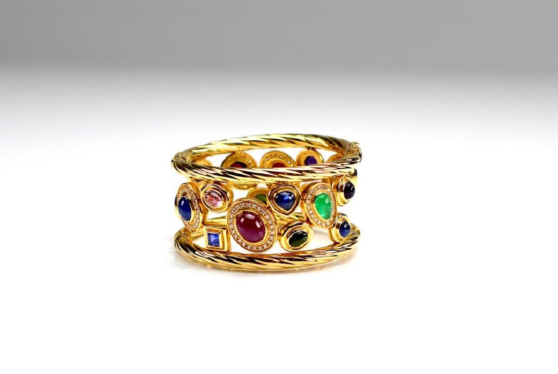 ITALIAN WIDE GOLD AND GEMSTONE BRACELET