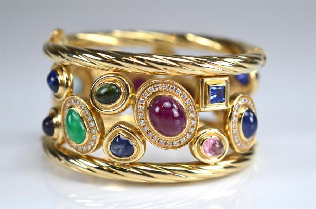 ITALIAN WIDE GOLD AND GEMSTONE BRACELET - 2