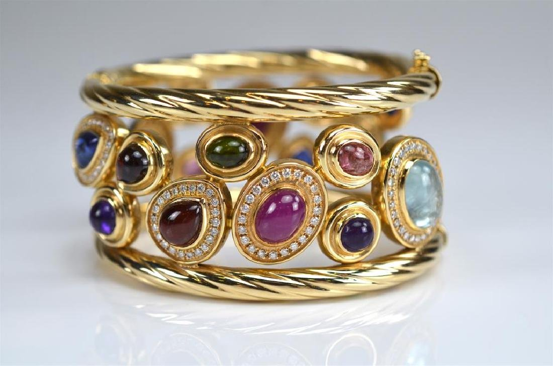 ITALIAN WIDE GOLD AND GEMSTONE BRACELET - 3