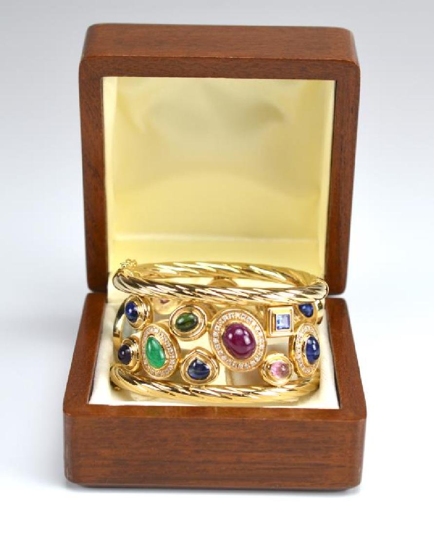 ITALIAN WIDE GOLD AND GEMSTONE BRACELET - 5