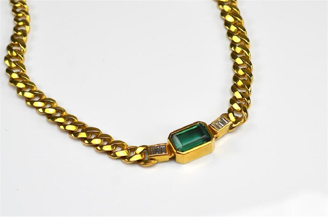 GOLD, TOURMALINE & DIAMOND NECKLACE