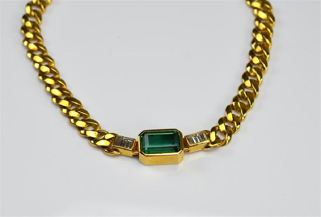 GOLD, TOURMALINE & DIAMOND NECKLACE - 2