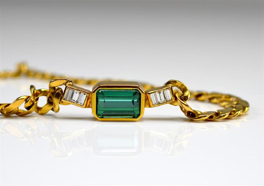 GOLD, TOURMALINE & DIAMOND NECKLACE - 3