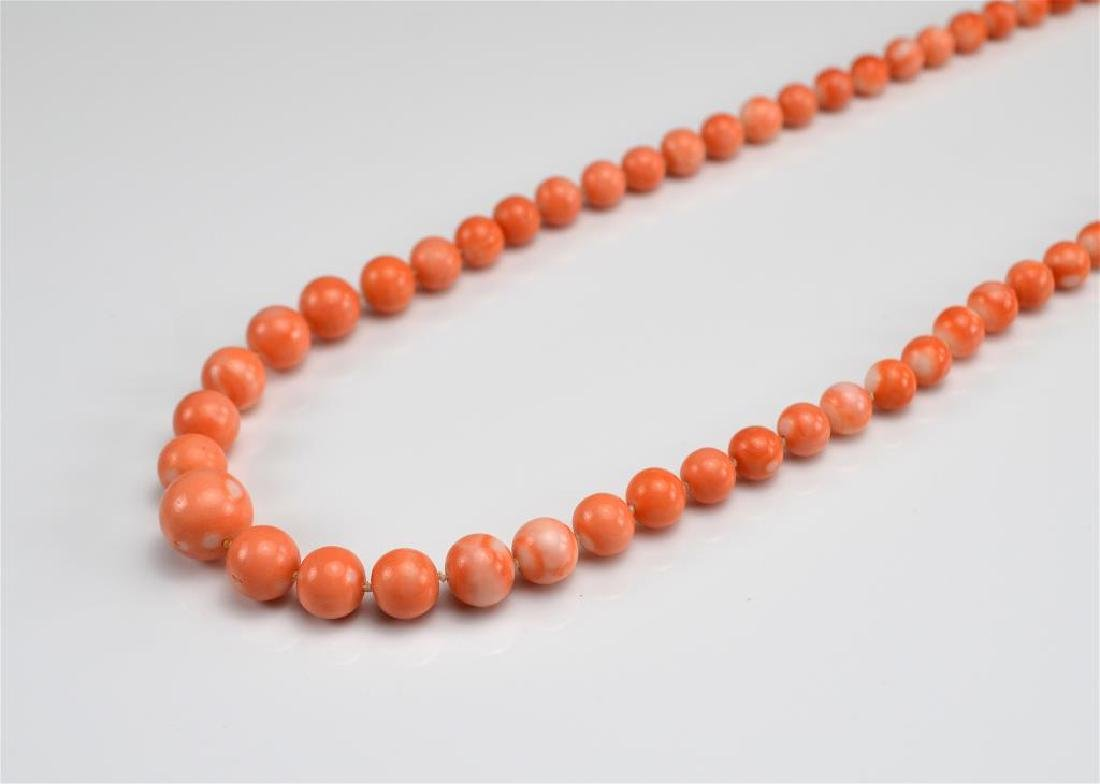 GRADUATED CORAL BEAD NECKLACE - 2
