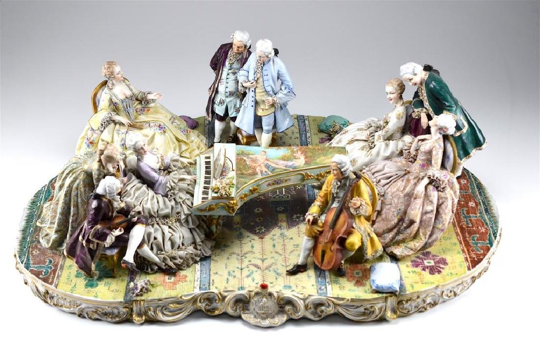 MONUMENTAL CONTINENTAL PORCELAIN FIGURAL GROUP