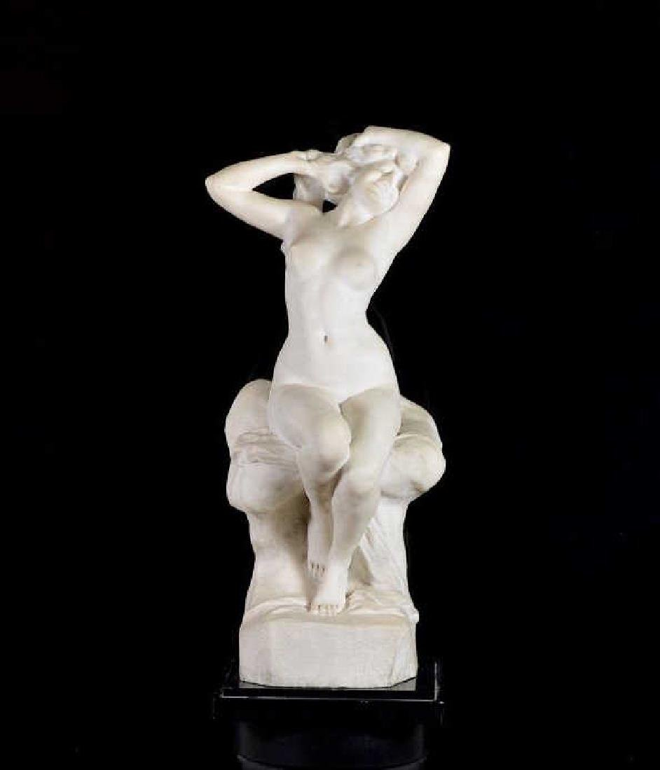 FRENCH WHITE MARBLE SCULPTURE OF A NUDE FIGURE