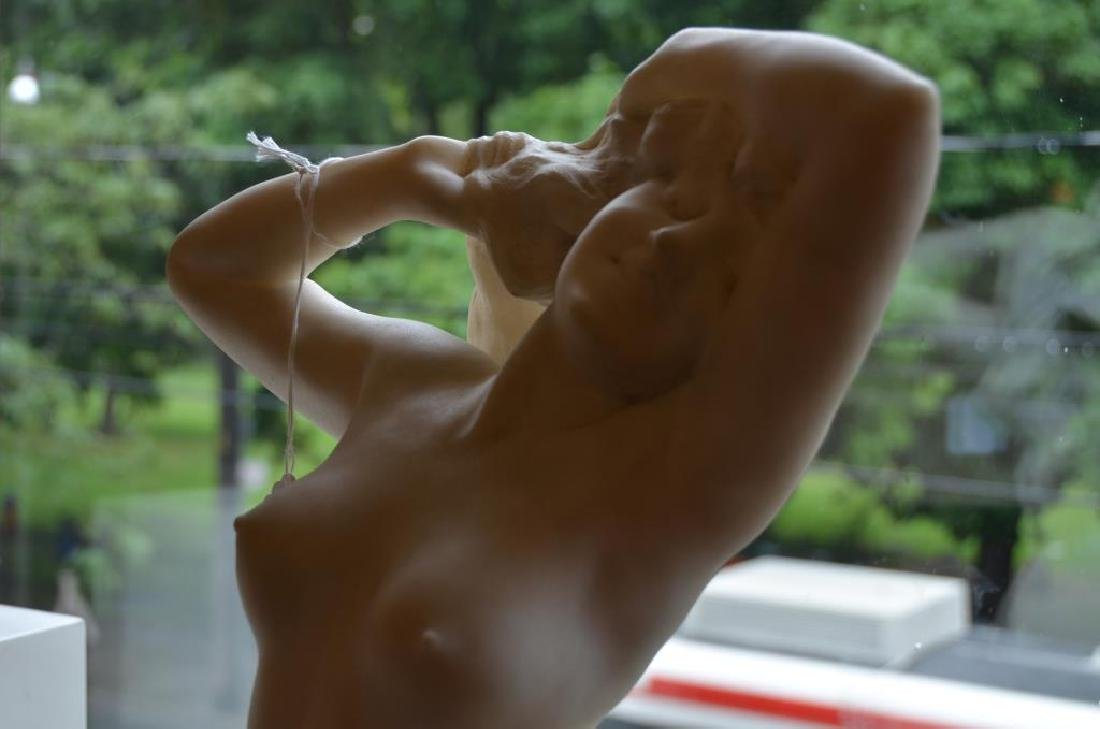 FRENCH WHITE MARBLE SCULPTURE OF A NUDE FIGURE - 2