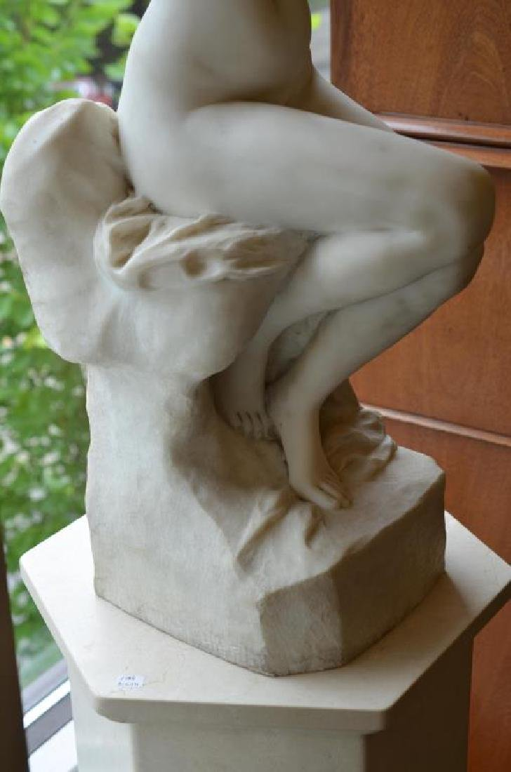 FRENCH WHITE MARBLE SCULPTURE OF A NUDE FIGURE - 9