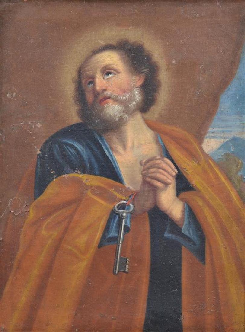 EUROPEAN SCHOOL RELIGIOUS PAINTING OF APOSTLE