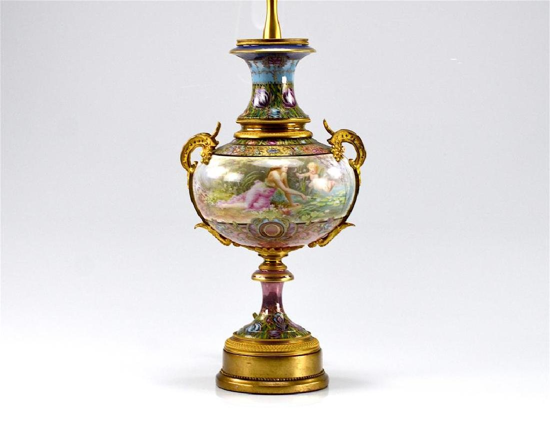 FRENCH HAND PAINTED PORCELAIN URN FORM LAMP