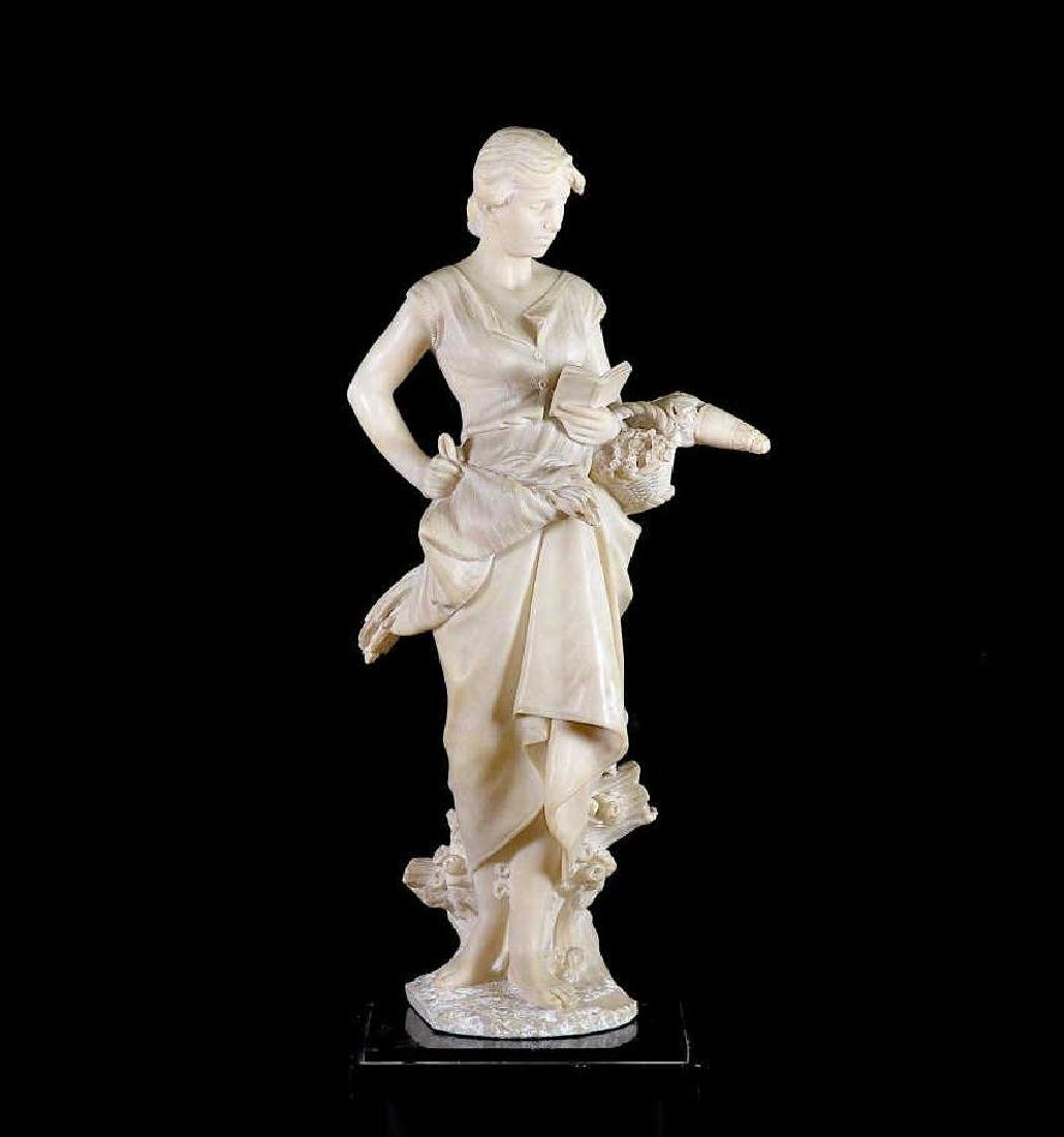 PIETRO BAZZANTI CARVED ALABASTER FEMALE FIGURE