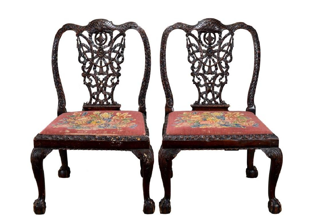 PAIR OF 18th C CARVED MAHOGANY CHAIRS