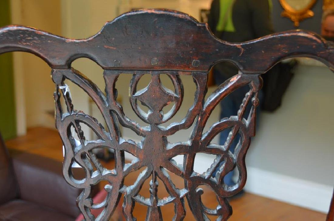 PAIR OF 18th C CARVED MAHOGANY CHAIRS - 4
