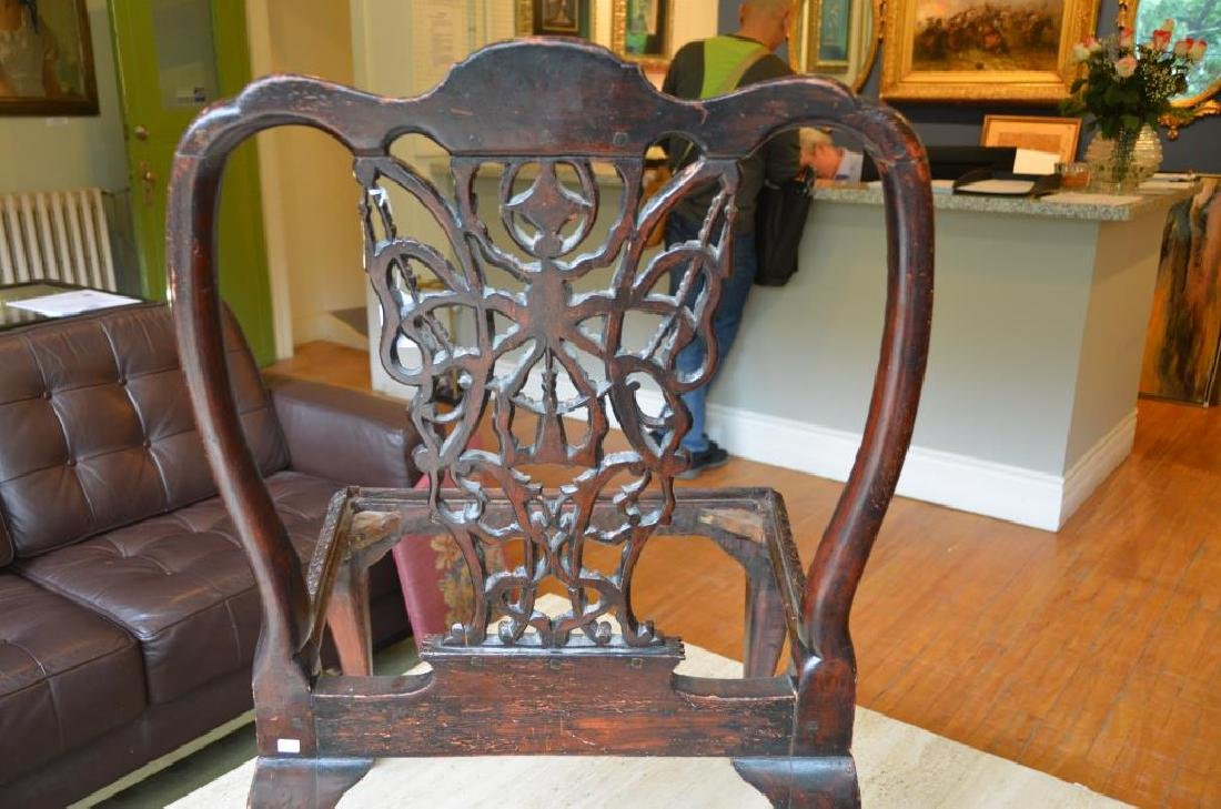 PAIR OF 18th C CARVED MAHOGANY CHAIRS - 5