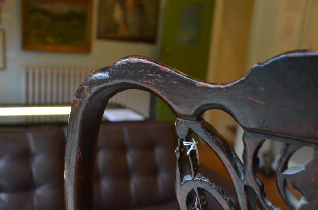 PAIR OF 18th C CARVED MAHOGANY CHAIRS - 6