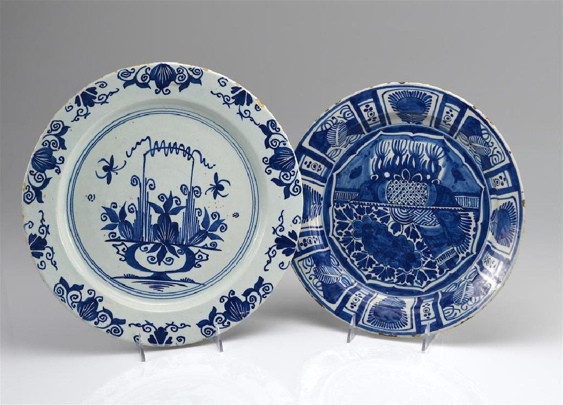 TWO DUTCH DELFT POTTERY CHARGERS