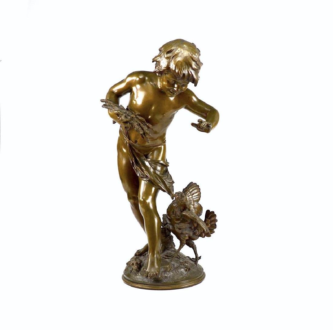 FRENCH BRONZE SCULPTURE OF A BOY